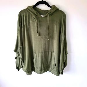 Lou & Grey Olive green hooded poncho top